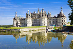 Chambord Chateau. Scenic view of Chambord Chateau reflecting on lake, Loir-et-Cher, France Royalty Free Stock Photos