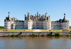 Chambord Chateau panoramic, France. Royalty Free Stock Photos