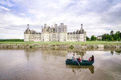 CHAMBORD, FRANCE -MAY 29: Family on a boat in front of the chate Stock Image