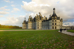 Chambord palace after rain at sunset, Loire Valley, France Stock Images