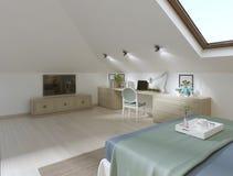 Chambre à coucher énorme sur le grenier dans un style moderne illustration de vecteur