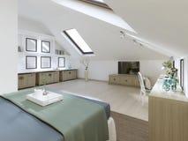 Chambre à coucher énorme sur le grenier dans un style moderne illustration stock