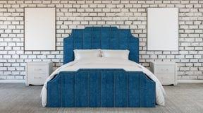Chambre à coucher étrange de conception moderne, mur de briques, manque de couleur, noir et blanc et bleu illustration libre de droits