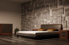 Chambre à coucher 3d intérieur Photos stock