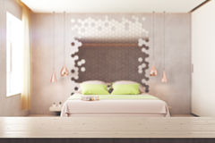 Chambre à coucher abstraite avec la surface en bois Images libres de droits