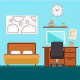 Chambre à coucher avec des meubles Illustration plate de vecteur de style Intérieur confortable Photo stock