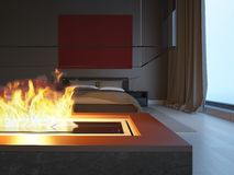 Chambre à coucher avec la cheminée Image libre de droits