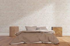 Chambre à coucher avec le mur de briques blanc, plancher en bois, armoire, lampe, fausse  illustration libre de droits