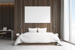 Chambre à coucher avec le secteur d'étude, vue de face Image stock