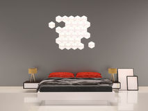 Chambre à coucher avec mur-intérieur gris d'oreiller rouge Images stock