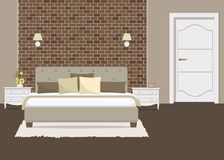 Chambre à coucher avec un mur de briques illustration libre de droits