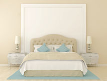 Chambre à coucher beige photographie stock