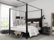 Chambre à coucher blanche avec le lit noir image stock