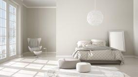 Chambre à coucher blanche et beige moderne confortable avec le plancher de parquet en bois, la fenêtre panoramique sur le paysage illustration de vecteur