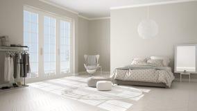 Chambre à coucher blanche et beige moderne confortable avec le plancher de parquet en bois, la fenêtre panoramique sur le paysage illustration libre de droits