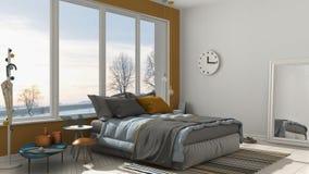 Chambre à coucher blanche et jaune moderne colorée avec le grand windo panoramique illustration stock