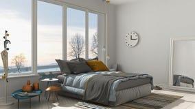 Chambre à coucher blanche moderne colorée avec la grande fenêtre panoramique, coucher du soleil, illustration de vecteur