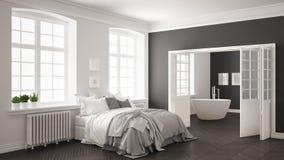 Chambre à coucher blanche scandinave minimaliste avec la salle de bains dans le backg illustration de vecteur