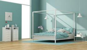 Chambre à coucher bleue et blanche avec le lit d'auvent illustration de vecteur