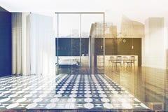 Chambre à coucher à carreaux de plancher et salle à manger modifiées la tonalité Image libre de droits