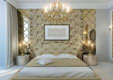 Chambre à coucher d'or photographie stock