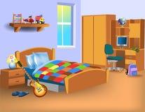 Chambre à coucher d'enfant de bande dessinée avec l'ordinateur sur le bureau, les jouets et la guitare électrique illustration de vecteur