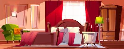 Chambre à coucher dans l'illustration de vecteur de désordre de matin illustration de vecteur