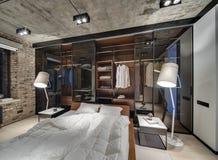 Chambre à coucher dans le style de grenier Image libre de droits