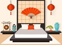 Chambre à coucher dans le vecteur de style japonais illustration stock