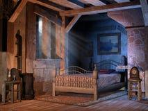 Chambre à coucher dans un cottage illustration libre de droits