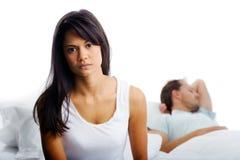Chambre à coucher de combat de couples Photo stock