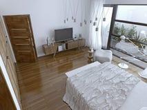 Chambre à coucher de Comtemporary avec la fenêtre panoramique Photos libres de droits