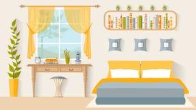 Chambre à coucher de conception intérieure avec un lieu de travail Vecteur illustration de vecteur