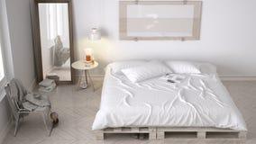 Chambre à coucher de DIY, conception chic d'eco blanc scandinave photo stock