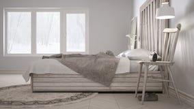 Chambre à coucher de DIY, lit avec la tête de lit en bois, eco blanc scandinave c images stock