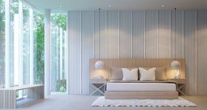Chambre à coucher de luxe blanche moderne Images libres de droits