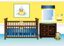 Chambre à coucher de pépinière de chéri dans jaune et le bleu Photographie stock libre de droits