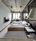 Chambre à coucher de style de grenier Photos libres de droits