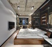 Chambre à coucher de style de grenier Photographie stock