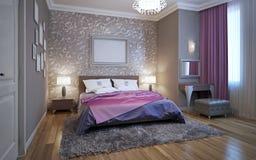 chambre à coucher du rendu 3d dans des tons gris et blancs Photo libre de droits