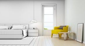 Chambre à coucher et salon de vue de mer dans la maison de plage de luxe, intérieur moderne de maison de vacances Photos stock