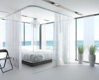 Chambre à coucher exclusive de conception avec la vue de paysage marin Image libre de droits