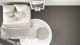 Chambre à coucher grise et beige moderne confortable avec le plancher de parquet en bois, le tapis avec le pouf et le lit avec la illustration libre de droits
