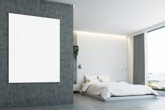 Chambre à coucher grise et concrète, affiche, plan rapproché Photographie stock libre de droits