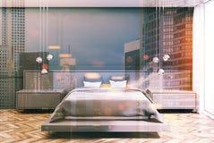 Chambre à coucher grise, lit gris modifié la tonalité Photo stock