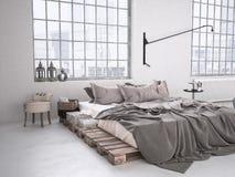 Chambre à coucher industrielle rendu 3d Photographie stock libre de droits