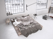 Chambre à coucher industrielle rendu 3d Photo libre de droits
