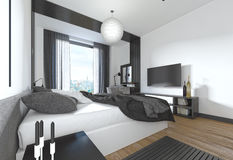 Chambre à coucher luxueuse et moderne dans le style contemporain dans le noir et whi Images stock