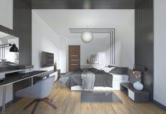 Chambre à coucher luxueuse et moderne dans le style contemporain dans le noir et whi Photographie stock libre de droits