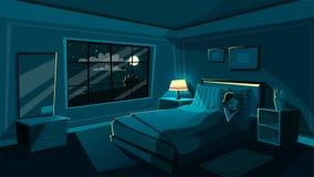Chambre à coucher mignonne de sommeil de jeune femme de vecteur la nuit illustration stock
